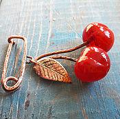 """Украшения ручной работы. Ярмарка Мастеров - ручная работа Брошь лэмпворк """"Cherry"""". Handmade."""