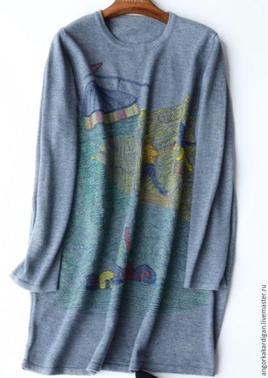 Кофты и свитера ручной работы. Ярмарка Мастеров - ручная работа. Купить Туника с вышивкой. Handmade. Серый, теплая туника