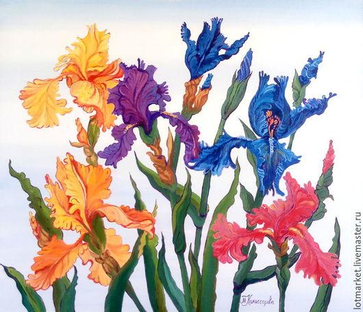 Ирисы -цветы радуги Картина маслом