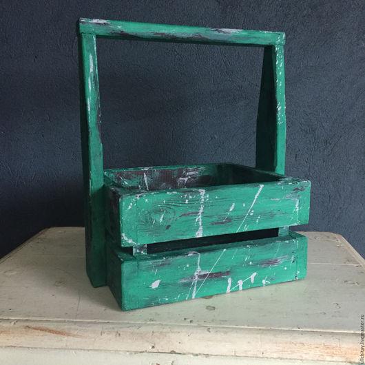 Корзины, коробы ручной работы. Ярмарка Мастеров - ручная работа. Купить Ящик с ручкой. Handmade. Морская волна, ящик из дерева