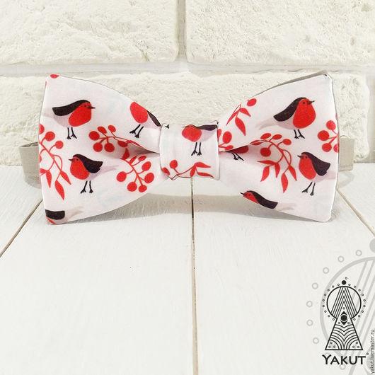 Галстуки, бабочки ручной работы. Ярмарка Мастеров - ручная работа. Купить Галстук бабочка Снегири / бабочка-галстук. Handmade.