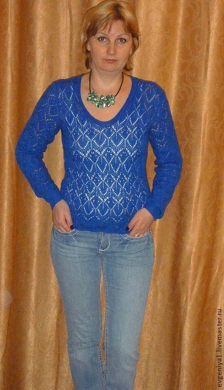 Кофты и свитера ручной работы. Ярмарка Мастеров - ручная работа. Купить Синий пуловер. Handmade. Синий, ажурный узор