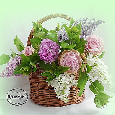 Flowers and floristry handmade. Livemaster - original item Bouquet of flowers in a basket of polymer clay. Handmade.