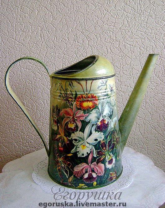 Watering Сans handmade. Livemaster - handmade. Buy Lake 'Beautiful orchids'.Lake, gift the green thumb, decoupage, handmade
