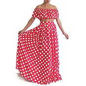 Одежда handmade. Livemaster - original item Summer polka dot skirt, Summer top, a Long skirt, Summer kit.. Handmade.