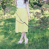 Одежда ручной работы. Ярмарка Мастеров - ручная работа Жёлтая лимонная летняя трикотажная юбка макси миди мини. Handmade.