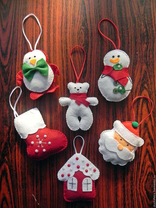 Новый год 2017 ручной работы. Ярмарка Мастеров - ручная работа. Купить Елочные игрушки из фетра. Handmade. Комбинированный, игрушки из фетра