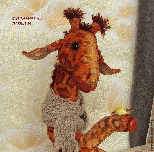"""Мишки Тедди ручной работы. Ярмарка Мастеров - ручная работа. Купить плюшевый жираф """"Жан-Жак и птичка"""". Handmade. Комбинированный"""