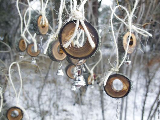 Новый год 2017 ручной работы. Ярмарка Мастеров - ручная работа. Купить Набор украшений из дерева. Handmade. Бежевый, новогодний декор