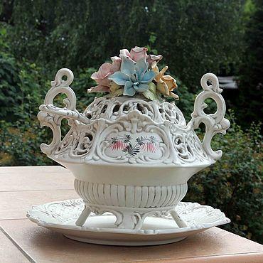 Посуда ручной работы. Ярмарка Мастеров - ручная работа Роскошная супница с цветочным декором. Handmade.