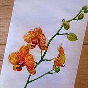 """Открытки ручной работы. Ярмарка Мастеров - ручная работа Почтовая открытка """" Оранжевая орхидея"""". Handmade."""