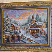 Картины и панно ручной работы. Ярмарка Мастеров - ручная работа Вышитая картина Рождественская деревня. Handmade.