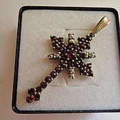Винтаж handmade. Livemaster - original item Rare Cross Czech garnets pearls 1950 silver 900. Handmade.