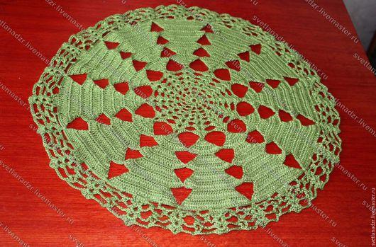 Текстиль, ковры ручной работы. Ярмарка Мастеров - ручная работа. Купить Салфетка Елочки. Handmade. Зеленый, вязанная салфетка, все для праздника