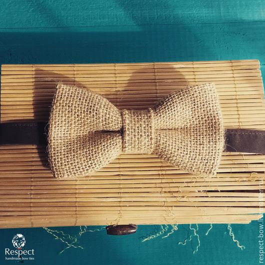 Галстуки, бабочки ручной работы. Ярмарка Мастеров - ручная работа. Купить Галстук бабочка Мешковина / бабочка-галстук для свадьбы в стиле рустик. Handmade.