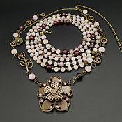 Украшения handmade. Livemaster - original item Set Flower necklace and long beads made of rose quartz and garnet. Handmade.