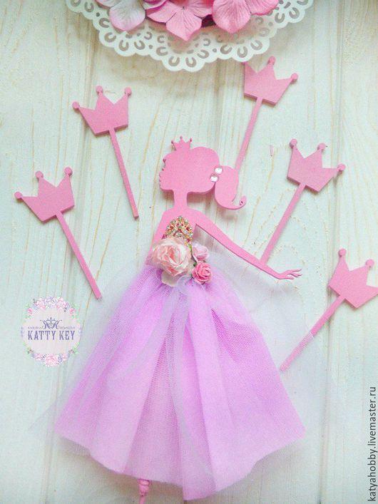 Праздничная атрибутика ручной работы. Ярмарка Мастеров - ручная работа. Купить Топпер-принцесса в торт. Handmade. Розовый, топпер, кукла