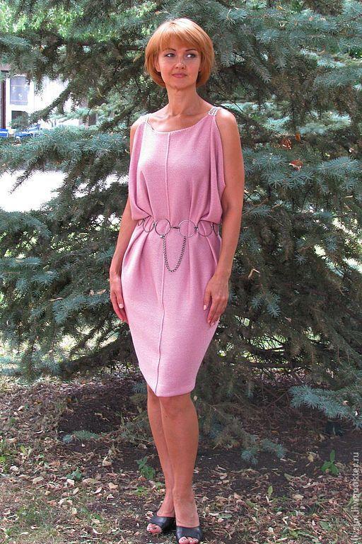 """Платья ручной работы. Ярмарка Мастеров - ручная работа. Купить Вязаное платье туника """"Грация"""". Handmade. Розовый, платье из хлопка"""