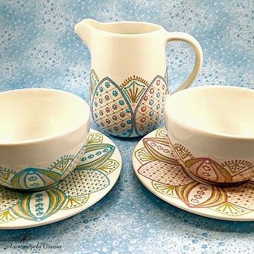 """Посуда ручной работы. Ярмарка Мастеров - ручная работа Чайная пара """"Нежный лотос"""". Handmade."""