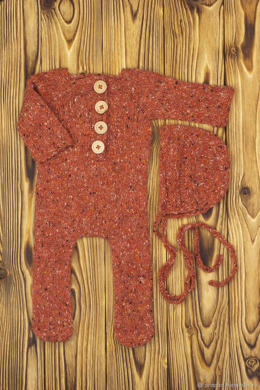 Комплект из рыжего твида с кашемиром для newborn, Комплекты одежды для малышей, Москва,  Фото №1