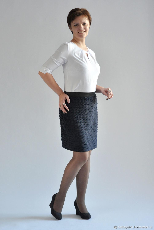 Knit Wave skirt dark blue elastic, Skirts handmade, Novosibirsk, Фото №1