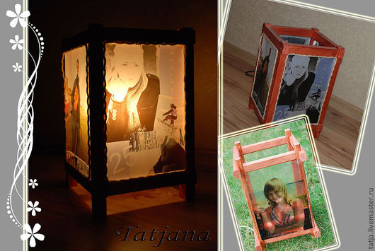 Освещение ручной работы. Ярмарка Мастеров - ручная работа. Купить Лампа с фото. Handmade. Светильник, лампа, калька, дерево