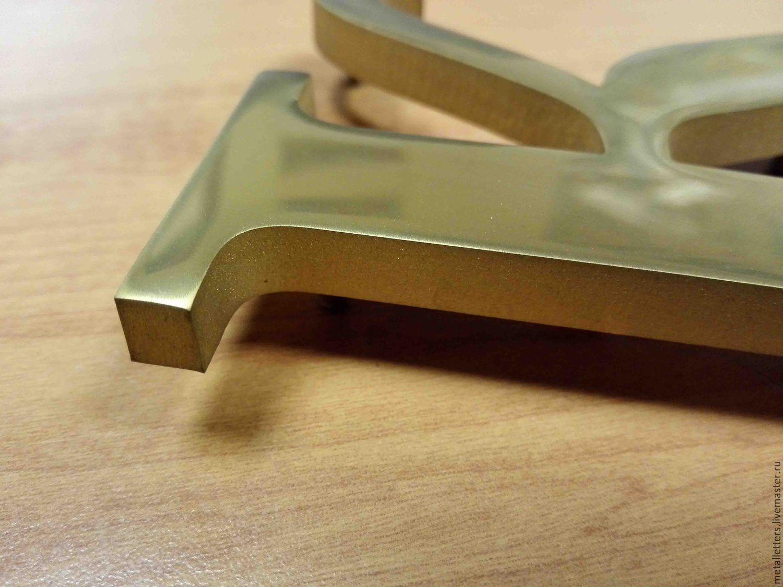 Буквы из нержавеющего металла в нитрид титане, Дизайн, Москва, Фото №1