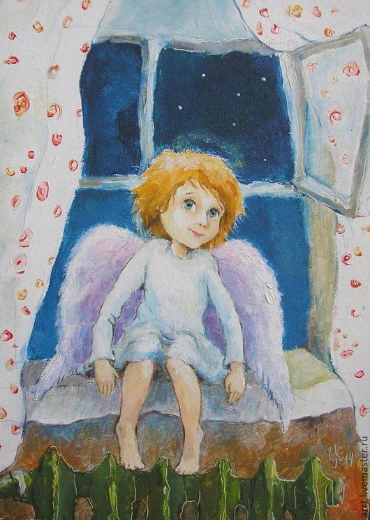 Подарки для новорожденных, ручной работы. Ярмарка Мастеров - ручная работа. Купить Открытка Ангел прилетел Открытка на день рождения. Handmade.