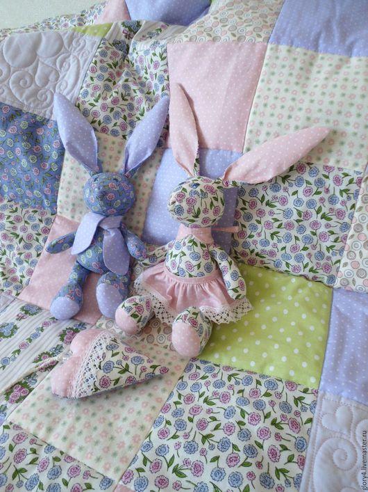 Для новорожденных, ручной работы. Ярмарка Мастеров - ручная работа. Купить Одеяло лоскутное детское Сашенька. Handmade. Бледно-розовый