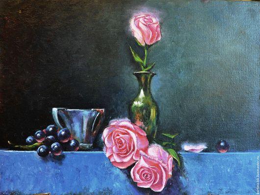 Натюрморт ручной работы. Ярмарка Мастеров - ручная работа. Купить Светящиеся розы. Handmade. Розы, чашка, комбинированный, масло