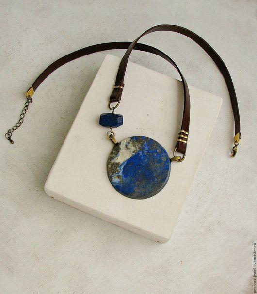 Колье, бусы ручной работы. Ярмарка Мастеров - ручная работа. Купить Колье Earth (лазурит, кожа). Handmade. Синий, лазурит