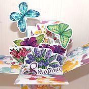 Открытки ручной работы. Ярмарка Мастеров - ручная работа Цветочные pop-up открытки на любой праздник). Handmade.