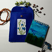 Канцелярские товары handmade. Livemaster - original item Case with Notepad Cornflower field. Handmade.