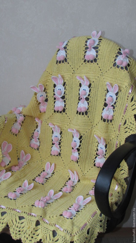 """Пледы и одеяла ручной работы. Ярмарка Мастеров - ручная работа. Купить Детский плед """"Зайчики"""". Handmade. Желтый, плед для новорожденного"""