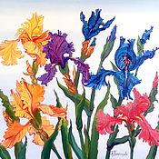 Картины и панно ручной работы. Ярмарка Мастеров - ручная работа Картина Ирисы-цветы радуги. Handmade.