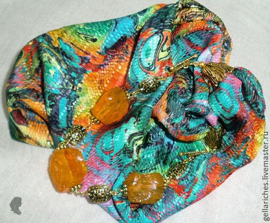 """Колье, бусы ручной работы. Ярмарка Мастеров - ручная работа. Купить Колье текстильное """"Джинг"""". Handmade. Колье с камнями, бусы"""