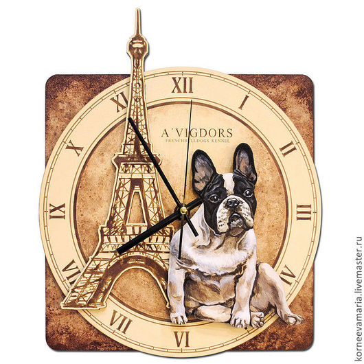 Часы для дома ручной работы. Ярмарка Мастеров - ручная работа. Купить Часы «Французский бульдог». Handmade. Часы, авторская работа