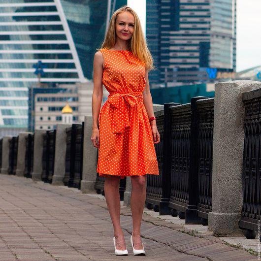"""Платья ручной работы. Ярмарка Мастеров - ручная работа. Купить платье """"красотка"""". Handmade. Рыжий, в горошек, женское платье"""