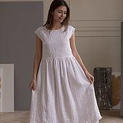 Одежда handmade. Livemaster - original item White linen dress with white lace. Handmade.