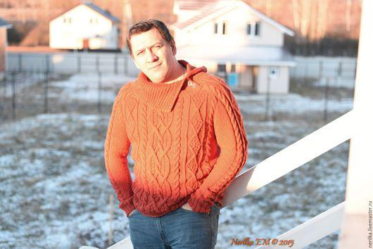 """Для мужчин, ручной работы. Ярмарка Мастеров - ручная работа. Купить Свитер """"Классика в аранах"""". Handmade. Рыжий, мужской свитер"""