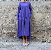Одежда ручной работы. Ярмарка Мастеров - ручная работа Фиолетовое асимметричное макси миди платье из трикотажа с карманами. Handmade.