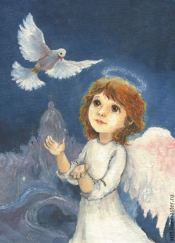 Christmas card angel and dove, Cards, St. Petersburg,  Фото №1