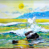 Pictures handmade. Livemaster - original item The sea, stained glass painting. Handmade.