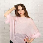 Одежда handmade. Livemaster - original item Soft pink kid mohair jumper with feathers. Handmade.