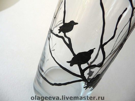 Бокалы, стаканы ручной работы. Ярмарка Мастеров - ручная работа. Купить Стакан вороны. Handmade. Ночь, птицы