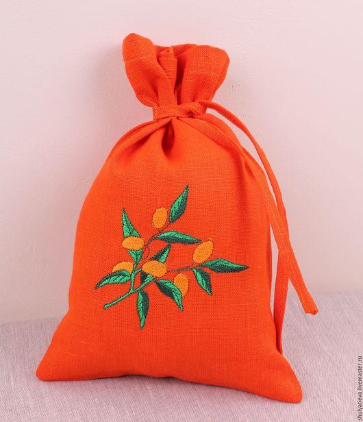 """Кухня ручной работы. Ярмарка Мастеров - ручная работа. Купить Льняной мешочек """"Абрикос"""". Handmade. Оранжевый, мешочек для хранения"""