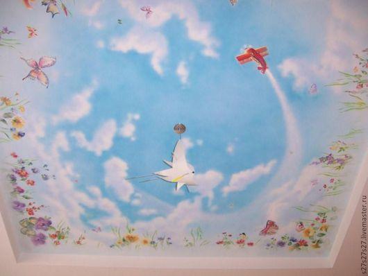 Детская ручной работы. Ярмарка Мастеров - ручная работа. Купить Летнее небо.. Handmade. Роспись потолка, небо, самолетик