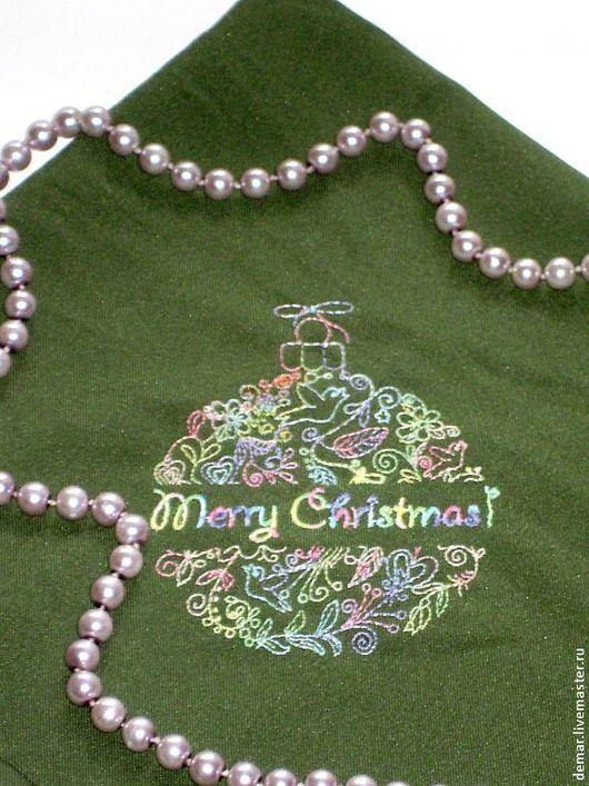 """Кухня ручной работы. Ярмарка Мастеров - ручная работа. Купить Салфетка """"Мerry Christmas"""". Handmade. Вышивка, комплект, подарок на новый год"""