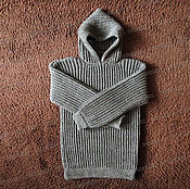 Одежда handmade. Livemaster - original item Sweater fleece with a hood, grey (No. №9). Handmade.