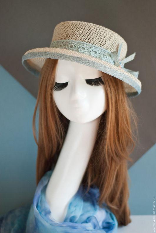 """Шляпы ручной работы. Ярмарка Мастеров - ручная работа. Купить """"Морская прогулка"""". Handmade. Белый, женская шляпка, летняя шляпа"""